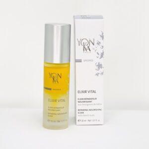 Yonka Elixir Vital er en reparerende og nærende sos serum til stresset, tør og udpint hud.